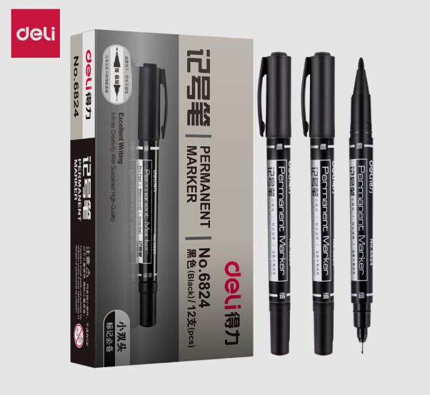 得力文具(deli)黑色双头多用油性记号笔签字笔