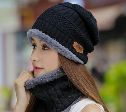 (限时23元一套)针织帽女冬天加厚套帽保暖护耳包头帽户外骑车毛线帽子